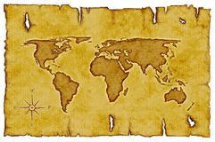 Old World Map. Scroll of old burnt World Map with compass royalty free illustration