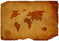 OLD WORLD MAP. Scroll of old burnt World Map stock images