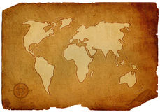 Old world map. Scroll of old burnt World Map Stock Photos