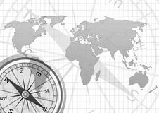 Old world map. With compass in grid background stock illustration