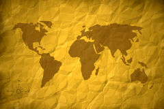 Old world map. Crumpled paper Royalty Free Stock Photo
