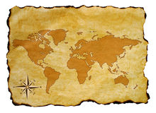 Old world map. Scroll of old burnt world map with compass Royalty Free Stock Image