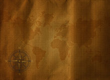 Old World Map and compass. Old World Map on old grunge paper with compass on it Stock Photos