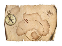 Old world map with compass isolated 3d illustration. Old world map isolated on white Royalty Free Stock Images
