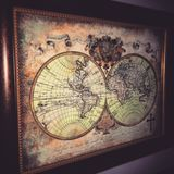Old world map. Famed old world map with cross Royalty Free Stock Images