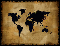 Old world map on grunge paper Stock Photo