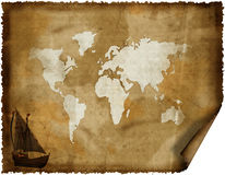 Old world map on grunge retro paper Royalty Free Stock Image