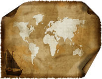Old world map on grunge retro paper Stock Photo