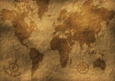 Old world map illustration Royalty Free Stock Image