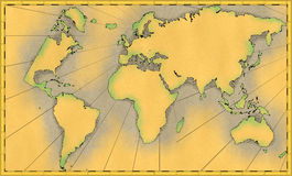 Old world map. Illustration of a old world map with frame - old treasure map royalty free illustration
