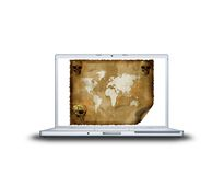Old world map on laptop screen. Isolated on white background Royalty Free Stock Image