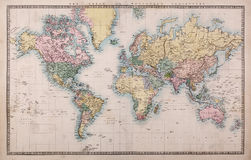 Old World Map on Mercators Projection Royalty Free Stock Photos