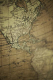Old World Map - North America. Vintage old world map on canvass of North America royalty free stock images
