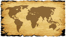 Old World Map On Parchment Stock Photos