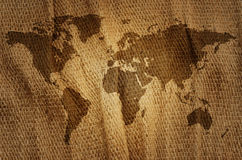 Old world map. Old world map on a sack stock photography