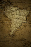 Old World Map - South America. Vintage old world map on canvass of South America Royalty Free Stock Photography