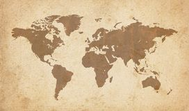Old world map. Old, vintage world map on paper royalty free illustration