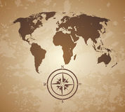 Old world map. Vintage old style world map with compas royalty free illustration
