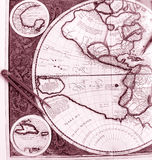 Old world map, western hemisphere Royalty Free Stock Image