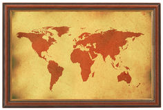 Old world map in wooden frame royalty free stock photos