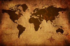 Old World Map. Worn grungy old world map stock photos