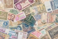 Old world paper money of different countries Royalty Free Stock Image