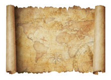 Old world scroll map isolated 3d illustration. Old scroll world map isolated on white Royalty Free Stock Photo