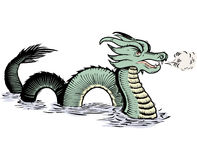 Old World Sea Dragon. Ancient map-style, sea serpent or dragon illustration Stock Photo