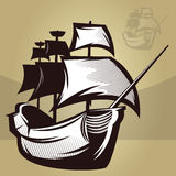 Old World Ship. Illustration of an old map style ship Royalty Free Stock Photo