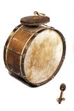 The old, worldly-wise, shabby, dusty bass drum Stock Photography