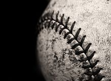 Old Worn Baseball. Worn old baseball with detail of stitching Stock Photography