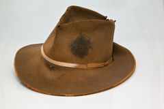 Old, worn brown hat. That is stained with sweet of hard labor Royalty Free Stock Photos
