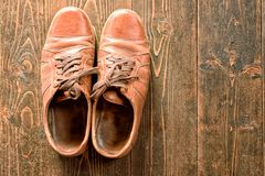 Old Worn Brown Leather Shoes Royalty Free Stock Image