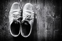 Old Worn Brown Leather Shoes Stock Photo