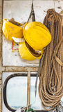 Old and worn colorful construction helmets Royalty Free Stock Images