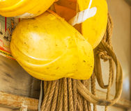 Old and worn colorful construction helmets Royalty Free Stock Photography