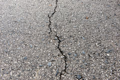 Old worn and cracked asphalt with cracks Stock Photo