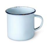 Old worn enameled mug rotated Stock Photo