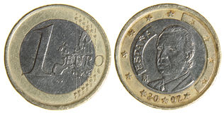 Old Worn Euro Dollar Coin Stock Photos