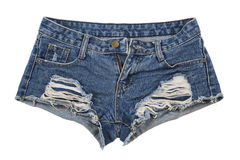 Old worn jean shorts isolated on white background Royalty Free Stock Photos