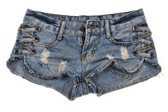 Old worn jean shorts isolated on white background Stock Image