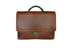 Old worn leather briefcase. On a white background royalty free stock photo