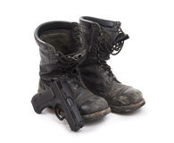 Old worn military boots Stock Image