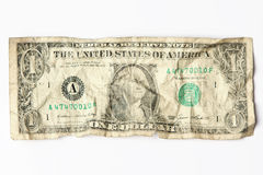 Old worn one dollar bill. Old crumpled one dollar bill royalty free stock image