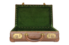 Old worn open suitcase with green interior Royalty Free Stock Photo