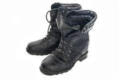 Old, worn-out boots of the old Russian army royalty free stock images