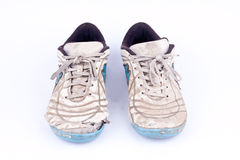 Old worn out futsal sports shoes  on white background  isolated Royalty Free Stock Images