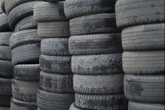 Old worn out tires heap for recycling or scrap Stock Photos