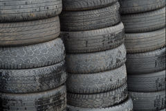 Old worn out tires heap for recycling or scrap Stock Photo