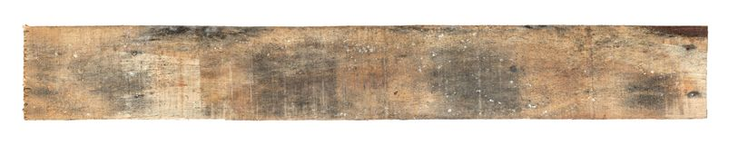 Old worn out wooden board. Isolated on white Stock Images